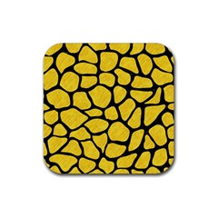 Skin1 Black Marble & Yellow Colored Pencil (r) Rubber Square Coaster (4 Pack)