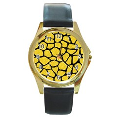 Skin1 Black Marble & Yellow Colored Pencil (r) Round Gold Metal Watch