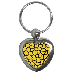Skin1 Black Marble & Yellow Colored Pencil (r) Key Chains (heart)