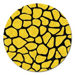 Skin1 Black Marble & Yellow Colored Pencil (r) Magnet 5  (round)