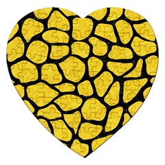 Skin1 Black Marble & Yellow Colored Pencil (r) Jigsaw Puzzle (heart)