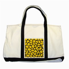 Skin1 Black Marble & Yellow Colored Pencil (r) Two Tone Tote Bag