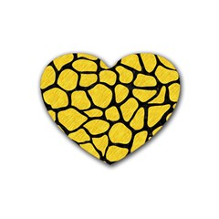 Skin1 Black Marble & Yellow Colored Pencil (r) Rubber Coaster (heart)