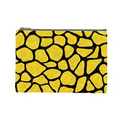 Skin1 Black Marble & Yellow Colored Pencil (r) Cosmetic Bag (large)