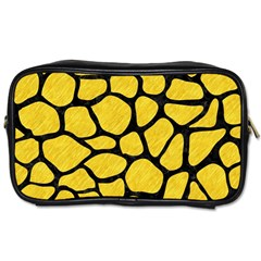 Skin1 Black Marble & Yellow Colored Pencil (r) Toiletries Bags 2 Side