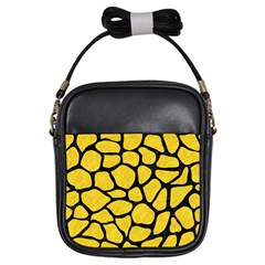Skin1 Black Marble & Yellow Colored Pencil (r) Girls Sling Bags