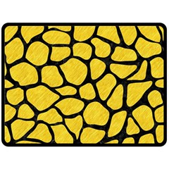 Skin1 Black Marble & Yellow Colored Pencil (r) Fleece Blanket (large)