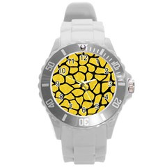 Skin1 Black Marble & Yellow Colored Pencil (r) Round Plastic Sport Watch (l)