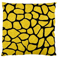 Skin1 Black Marble & Yellow Colored Pencil (r) Large Cushion Case (two Sides)