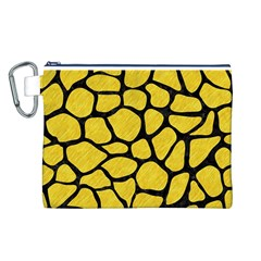 Skin1 Black Marble & Yellow Colored Pencil (r) Canvas Cosmetic Bag (l)