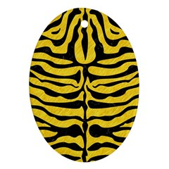 Skin2 Black Marble & Yellow Colored Pencil Ornament (oval)