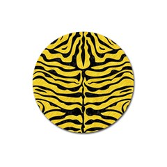 Skin2 Black Marble & Yellow Colored Pencil Magnet 3  (round)