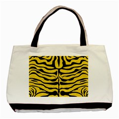 Skin2 Black Marble & Yellow Colored Pencil Basic Tote Bag