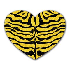 Skin2 Black Marble & Yellow Colored Pencil Heart Mousepads