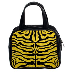 Skin2 Black Marble & Yellow Colored Pencil Classic Handbags (2 Sides)