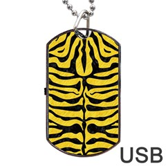 Skin2 Black Marble & Yellow Colored Pencil Dog Tag Usb Flash (one Side)