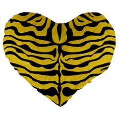 Skin2 Black Marble & Yellow Colored Pencil Large 19  Premium Heart Shape Cushions