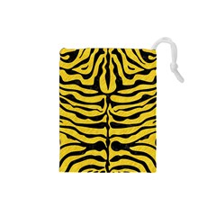 Skin2 Black Marble & Yellow Colored Pencil Drawstring Pouches (small)