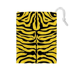 Skin2 Black Marble & Yellow Colored Pencil Drawstring Pouches (large)