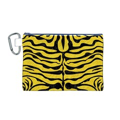 Skin2 Black Marble & Yellow Colored Pencil Canvas Cosmetic Bag (m)