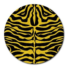 Skin2 Black Marble & Yellow Colored Pencil (r) Round Mousepads