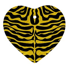 Skin2 Black Marble & Yellow Colored Pencil (r) Heart Ornament (two Sides)