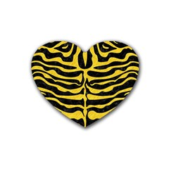 Skin2 Black Marble & Yellow Colored Pencil (r) Rubber Coaster (heart)