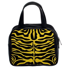 Skin2 Black Marble & Yellow Colored Pencil (r) Classic Handbags (2 Sides)