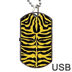 Skin2 Black Marble & Yellow Colored Pencil (r) Dog Tag Usb Flash (one Side)