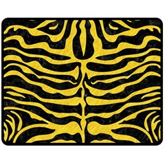 Skin2 Black Marble & Yellow Colored Pencil (r) Double Sided Fleece Blanket (medium)
