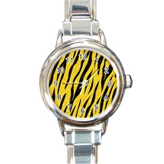 Skin3 Black Marble & Yellow Colored Pencil Round Italian Charm Watch