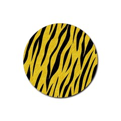 Skin3 Black Marble & Yellow Colored Pencil Rubber Coaster (round)