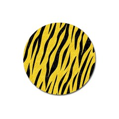 Skin3 Black Marble & Yellow Colored Pencil Magnet 3  (round)
