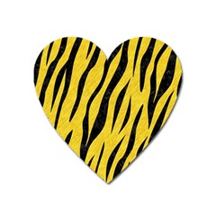 Skin3 Black Marble & Yellow Colored Pencil Heart Magnet