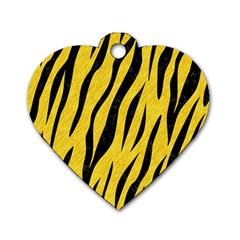 Skin3 Black Marble & Yellow Colored Pencil Dog Tag Heart (two Sides)