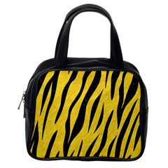Skin3 Black Marble & Yellow Colored Pencil Classic Handbags (one Side)