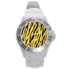 Skin3 Black Marble & Yellow Colored Pencil Round Plastic Sport Watch (l)