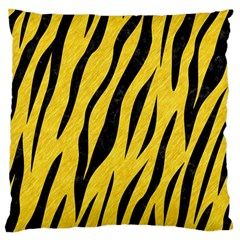 Skin3 Black Marble & Yellow Colored Pencil Large Cushion Case (two Sides)
