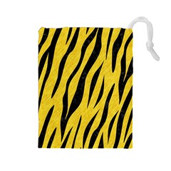 Skin3 Black Marble & Yellow Colored Pencil Drawstring Pouches (large)