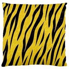 Skin3 Black Marble & Yellow Colored Pencil Large Flano Cushion Case (two Sides)