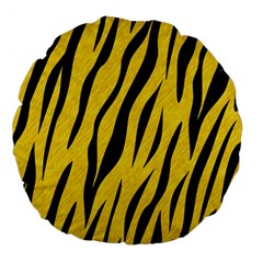 Skin3 Black Marble & Yellow Colored Pencil Large 18  Premium Flano Round Cushions