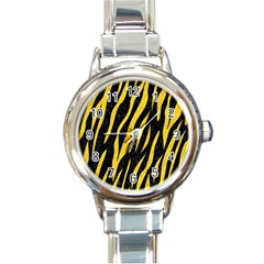 Skin3 Black Marble & Yellow Colored Pencil (r) Round Italian Charm Watch