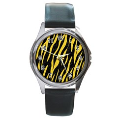 Skin3 Black Marble & Yellow Colored Pencil (r) Round Metal Watch