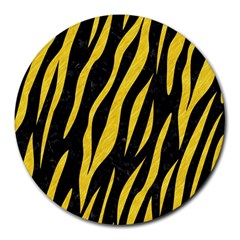 Skin3 Black Marble & Yellow Colored Pencil (r) Round Mousepads
