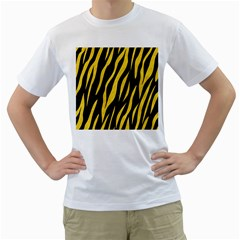 Skin3 Black Marble & Yellow Colored Pencil (r) Men s T Shirt (white) (two Sided)