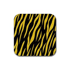 Skin3 Black Marble & Yellow Colored Pencil (r) Rubber Square Coaster (4 Pack)