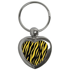 Skin3 Black Marble & Yellow Colored Pencil (r) Key Chains (heart)
