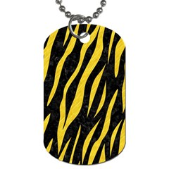 Skin3 Black Marble & Yellow Colored Pencil (r) Dog Tag (two Sides)