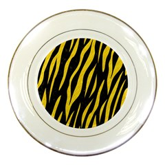 Skin3 Black Marble & Yellow Colored Pencil (r) Porcelain Plates