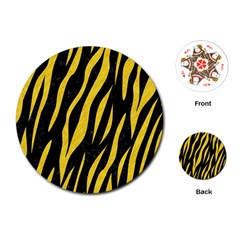 Skin3 Black Marble & Yellow Colored Pencil (r) Playing Cards (round)
